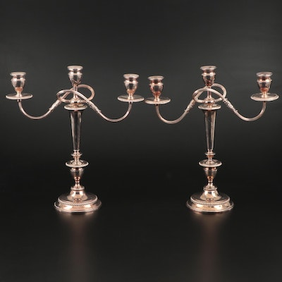 E.G. Webster & Son Silver Plate Convertible Candelabras, Early to Mid 20th C.