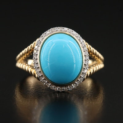 14K Turquoise Ring with Diamond Halo and Twisted Rope Shoulders