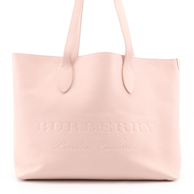 Burberry Remington Embossed Logo Tote in Blush Pink Grained Leather