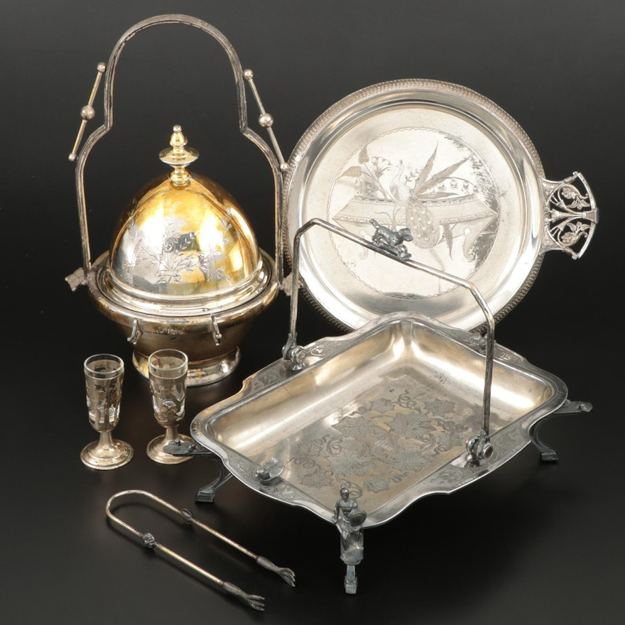 Wilcox Silver Plate Victorian Butter Server, Basket and Other Serveware