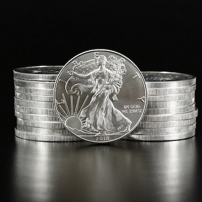 Mint Roll of Twenty 2018 American Silver Eagle Bullion Coins