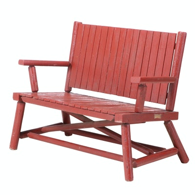 Adirondack Style Painted Log and Slatted Pine Settee, 20th Century