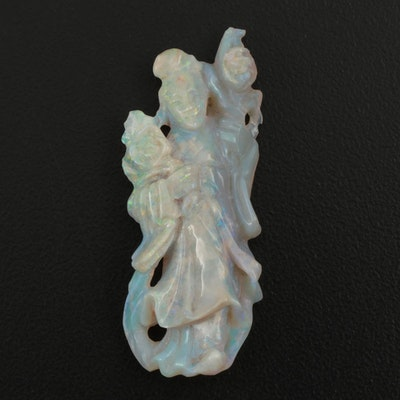 Chinese Carved Opal Pendant