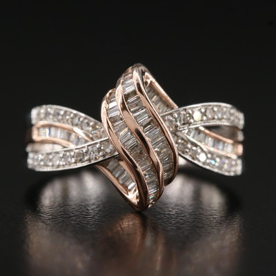 14K Diamond Ribbon Ring with Rose Gold Accent