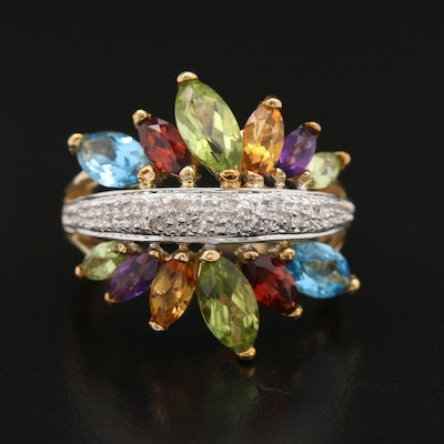 10K Gemstone Ring with Diamond Accents