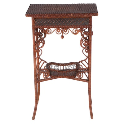 Victorian Wicker Sewing Stand, Late 19th Century