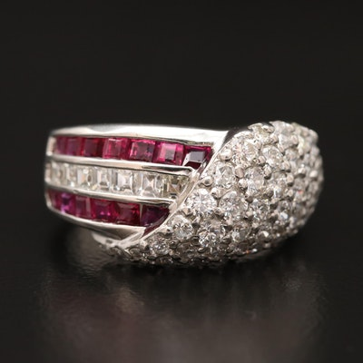 Platinum 1.55 CTW Diamond and Ruby Triple Row and Layered Ring