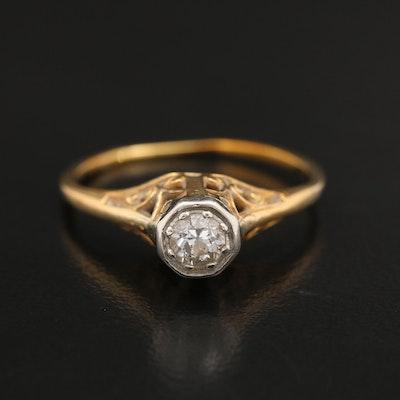 Art Nouveau 14K 0.18 CT Diamond Solitaire Ring