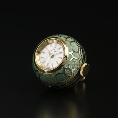 Bucherer Enamel and Gold Tone Stem Wind Pendant Watch, Vintage