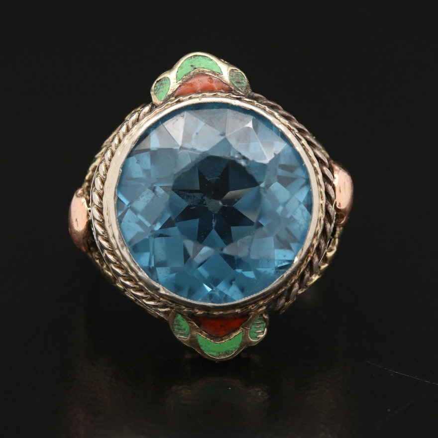 1930s 14K Spinel and Enamel Ring with Floral Accents