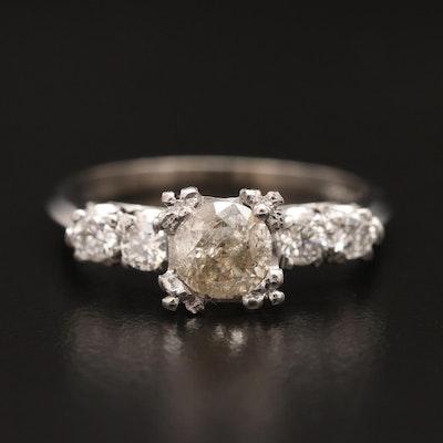 Vintage Platinum Diamond Knife Edge Ring