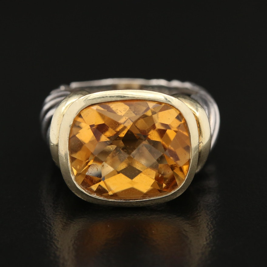 """David Yurman """"Classic Cable"""" Sterling Silver Citrine Ring with 14K Accent"""