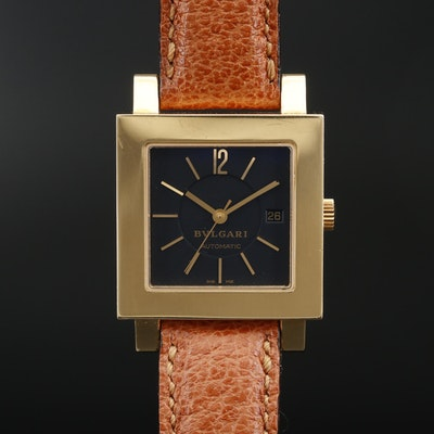 Bulgari Quadrato 18K Yellow Gold Automatic Wristwatch