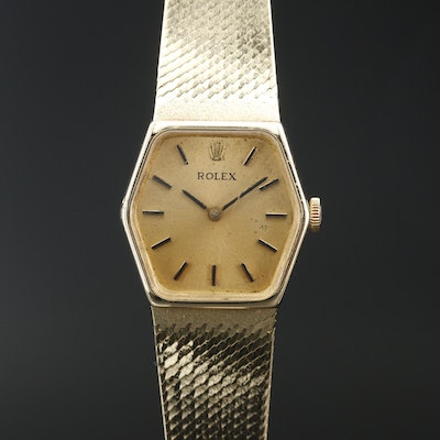 Vintage Rolex Orchid 14K Gold Stem Wind Wristwatch