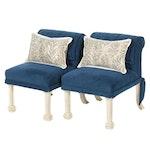 Blue Velveteen Upholstered Side Chairs, Pair