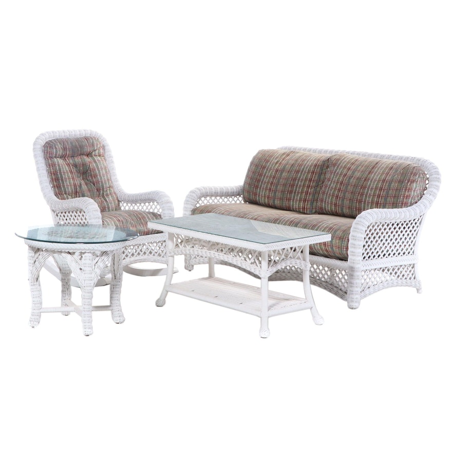 Painted Woven Wicker 4-Piece Patio Seating Group, Late 20th Century