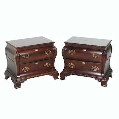 Pair of Century Furniture Burl Wood Bombe Chest, 20th Century