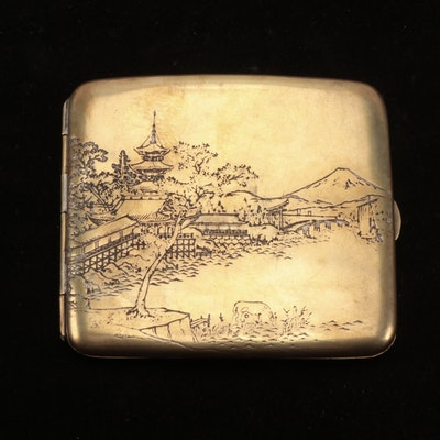 Japanese Mixed Metal Etched Cigarette Case