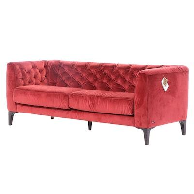 Natuzzi Editions Piacere Button Tufted Velour Sofa