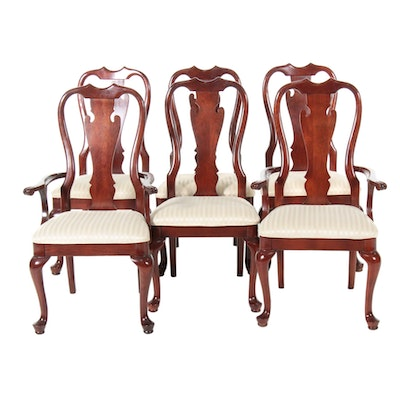 Queen Anne Style Mahogany Dining Chairs, Set of Six,