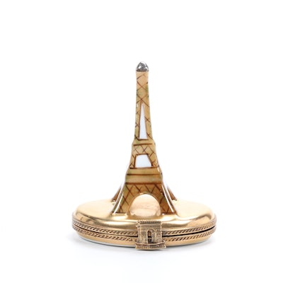 Hand-Painted Porcelain Eiffel Tower Limoges Box