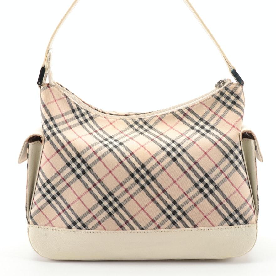 """Burberry """"Nova Check"""" and Off-White Saffiano Leather Shoulder Bag"""