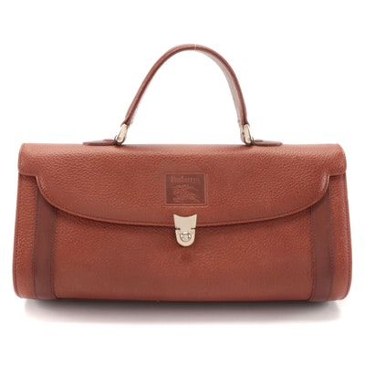 "Burberrys Brown Grained Leather Handbag with ""Haymarket Check"" Lining"
