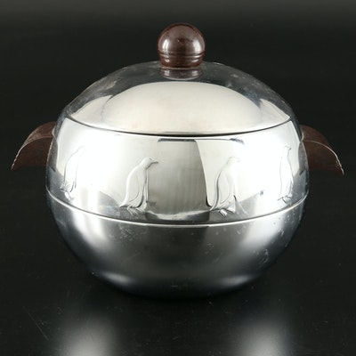 """West Bend Art Deco """"Penguin"""" Hot and Cold Server with Bakelite Handles"""