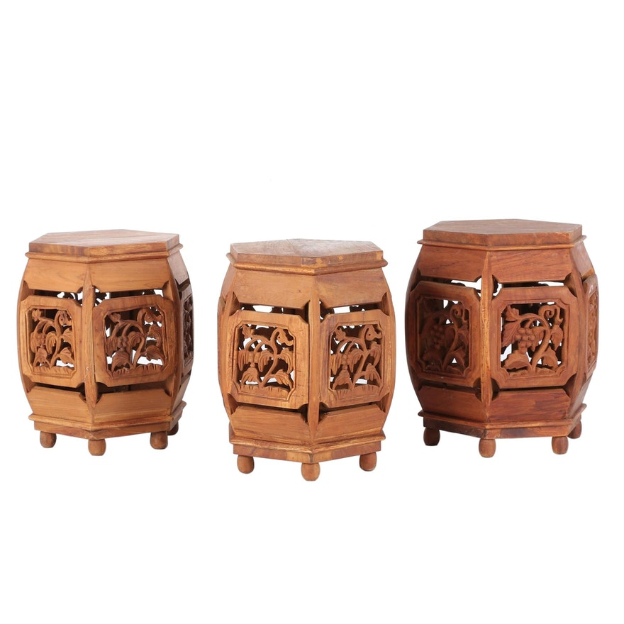 Carved Teak Plant Stands or Accent Tables with Foliate Motif, Late 20th Century