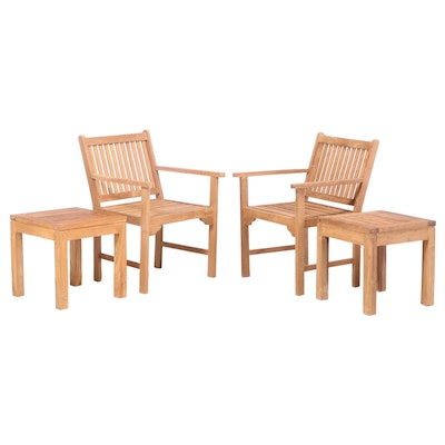 Teak Wood Patio Armchairs and Side Tables, Pair