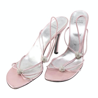 Stuart Weitzman Metallic Pink Leather Strappy Sandals