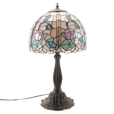 Art Nouveau Style Slag Glass Hummingbird Motif Table Lamp