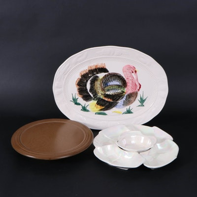 Painted Ceramic Turkey Platter and Lazy Susan with Ceramic Hors d'oeuvres Dishes
