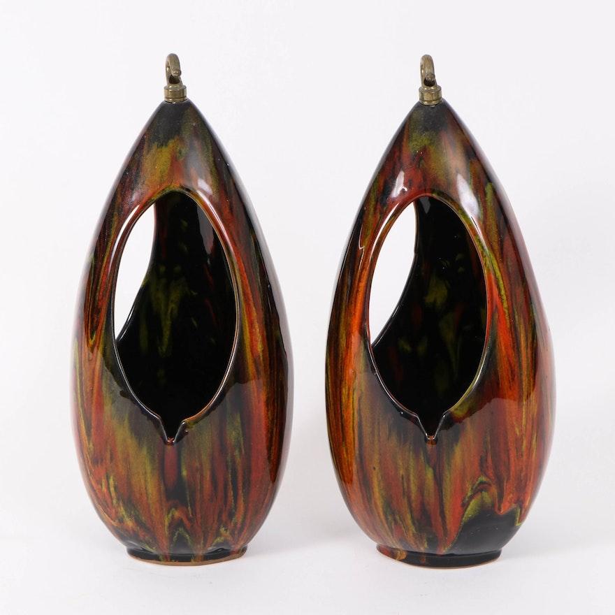 Mid Century Modern Black and Rust-Glazed Ceramic Hanging Planters