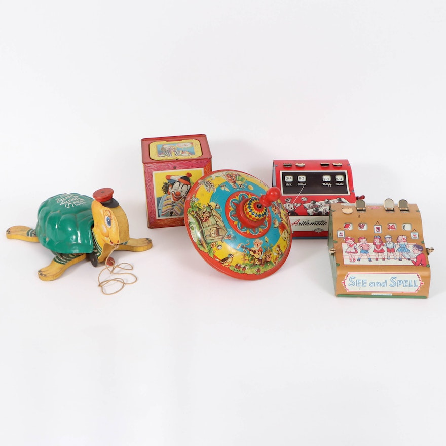 """Fisher-Price """"Timmy Turtle"""" and Assorted Tin Litho Toy Collection, Mid-20th C."""