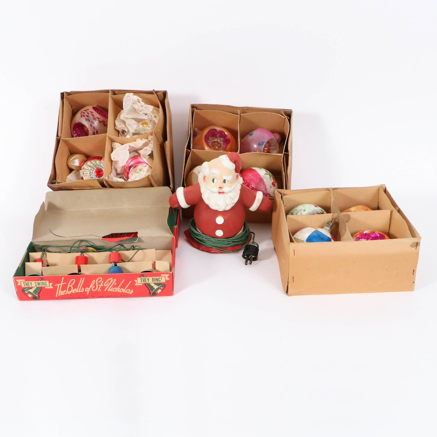 Christmas Ornament Collection with Illuminated Santa and St. Nicolas Lights
