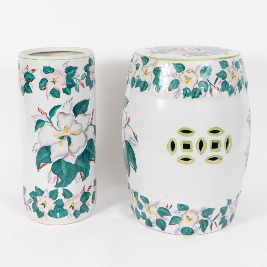 Paint-Decorated Porcelain Chinese Style Tabouret and Umbrella Stand.