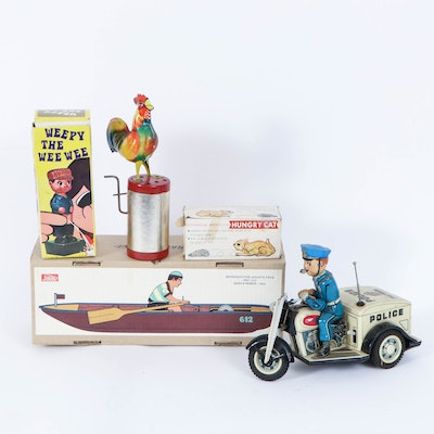 Nomura Police Patrol, Paya Rower, and Other Vintage and Reproduction Toys