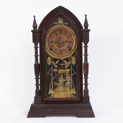 Ansonia Aesthetic Movement Walnut-Finish Cathedral Clock, Late 19th Century