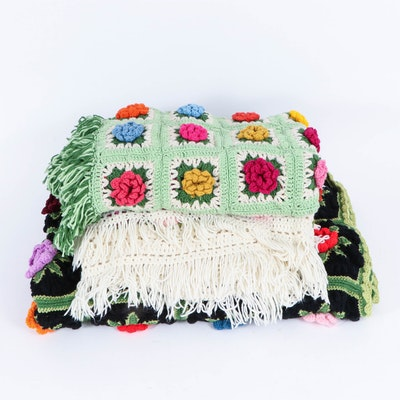Hand-Crocheted Granny Square Throw Blankets