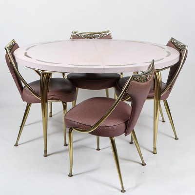 Virtue Brothers Mid Century Pink Bejeweled Chairs and Table Set