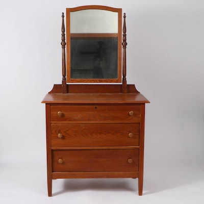 American Oak Dresser and Mirror, Early to Mid 20th Century