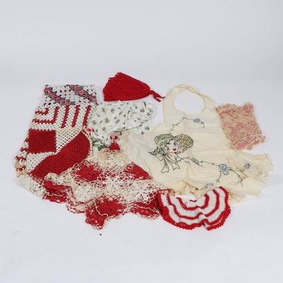Handmade Doilies and Other Linens, Early to Mid 20th Century