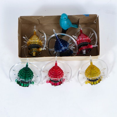 Merry Glow Rotating Christmas Ornaments and Vintage Bird Bulb