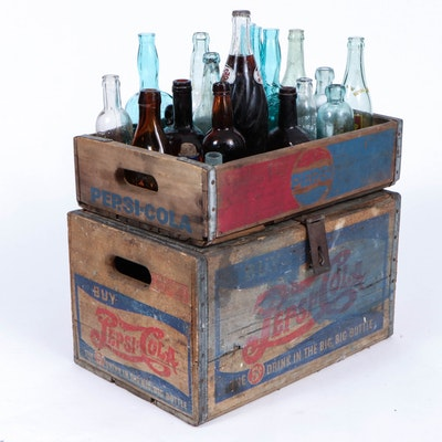 Pepsi-Cola Wooden Crates and Glass Beverage Bottles, Antique-Mid-20th Century