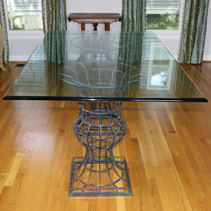 Glass Dining Table with Metal Cage Pedestal Bases