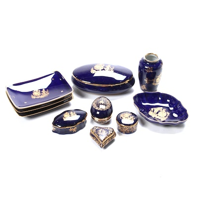 French Porcelain Rococo Motif Cobalt Porcelain Vanity Boxes and Dishes, 20th C.