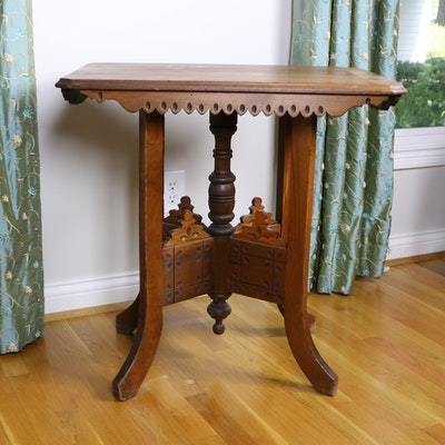 Victorian Eastlake Carved Walnut Parlor Table, Late 19th Century