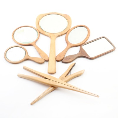 Wooden Glove Stretchers and Hand Held Mirrors