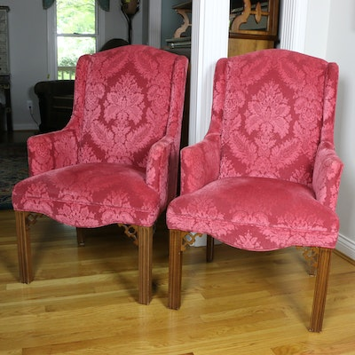 Pair of Style Upholstering Chippendale Style Upholstered Armchairs